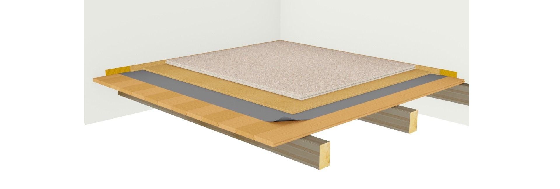 Footfall sound insulation over floorboards